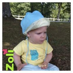 Chapeau zoli bébé/enfant en lin - Lagon/Citron