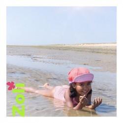 Chapeau zoli bébé/enfant en lin - Lilas/Corail