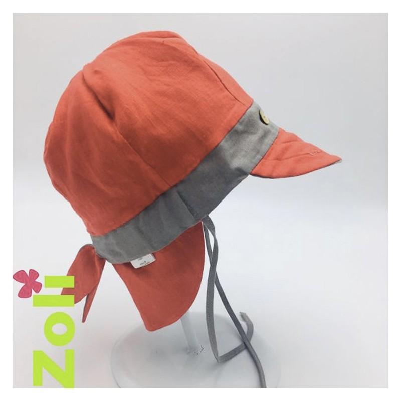 Chapeau zoli bébé/enfant en lin - Taupe/Rouge