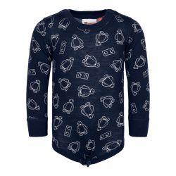 Body en laine merinos - manches longues - Légo - Bleu