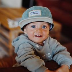 Casquette hiver enfant en velours Hello Hossy Sweet Baby Blue photo petit garçon