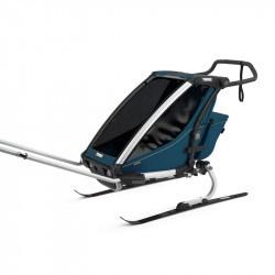 Thule Chariot Cross - Majolica Blue - une place - kit ski