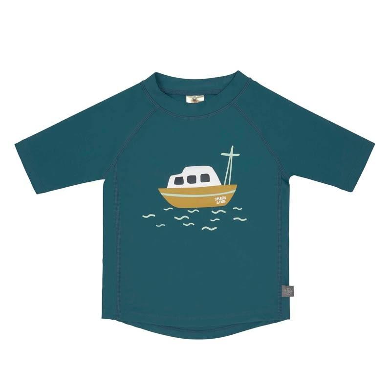 T-shirt de bain bébé anti-uv - bateau bleu