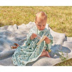 Poncho microfibres pour bébé - Lassig - Bateau menthe