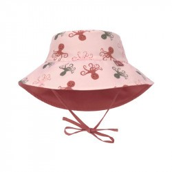 Chapeau anti-UV bébé réversible - Lassig - octopus rose