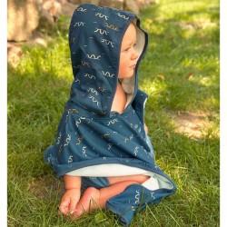 Poncho de plage bébé Lassig bleu