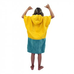 Poncho surf enfant - 6 à 9 ans jaune gris