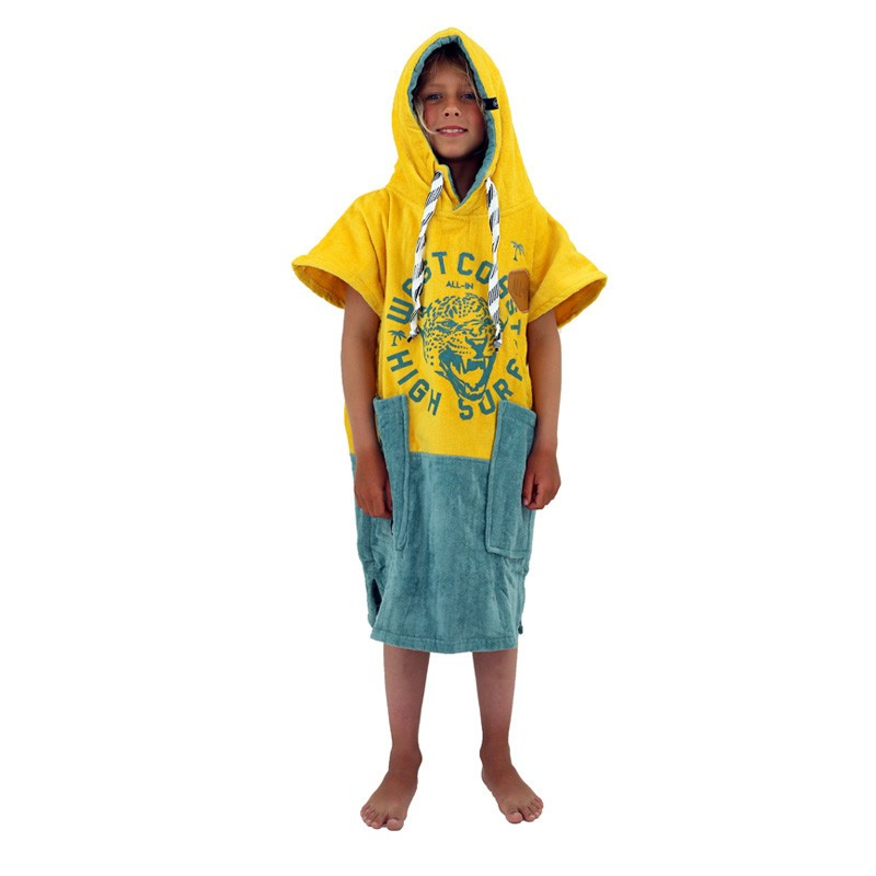 Poncho surf enfant - 6 à 9 ans - All-in - Yellow Smoke
