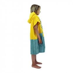 Poncho surf enfant - 6 à 9 ans jaune et gris