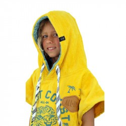 Poncho de surf enfant - 6 à 9 ans jaune gris