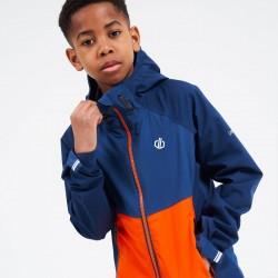 Veste enfant imperméable et respirante - Dare2B - bleu orange