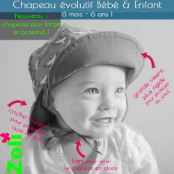 Chapeau de soleil zoli bébé et enfant de Zoli - Léontine