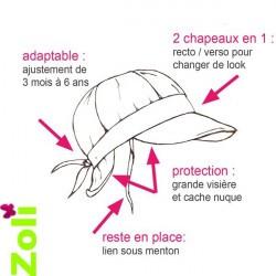 Chapeau de soleil bébé et enfant de Zoli - évolutif