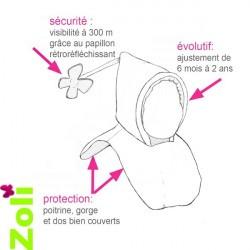 Capuchon bébé Zoli - Anthracite - Lie de Vin