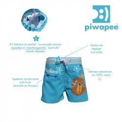 Short de bain couche clipsable Swim+ Piwapee - Castor/Bleu Turquoise