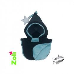 Capuchon enfant Zoli - Noir /Doudou lagon