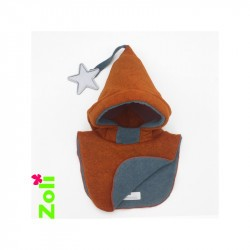Capuchon enfant Zoli - Orange/Gris-Bleu