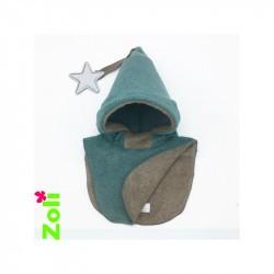 Capuchon enfant Zoli - Vert-Gris/Beige