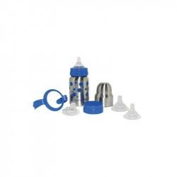 Kit Biberon-gourde Inox Isotherme Organic Kidz 270ml goulot large-Bleu