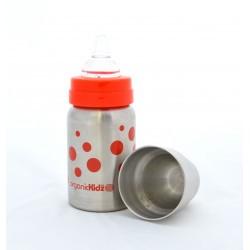 Biberon Inox Organic Kidz 270mL goulot large - rouge