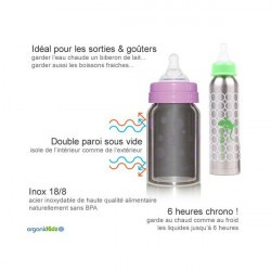 Biberon Inox Isotherme Organic Kidz 270ml goulot étroit - Princesse