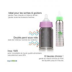 Biberon Inox Isotherme Organic Kidz 270ml goulot étroit - Pois