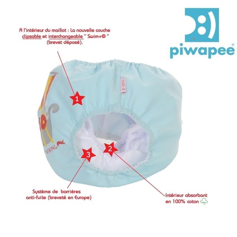 Maillot de bain couche clipsable  Swim+ Piwapee - Viking