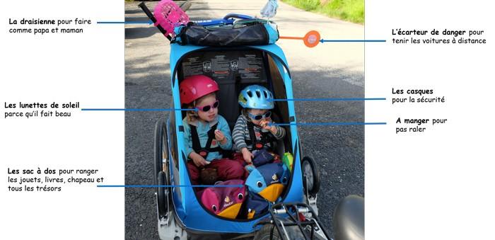Equipement vélo pour les enfant en remorque