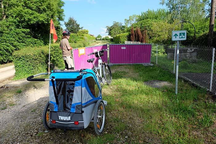 la voie verte cyclable est en travaux