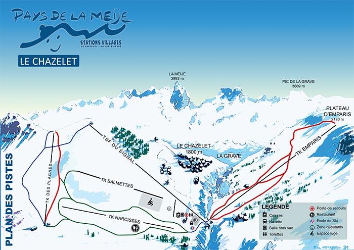 Plan des pistes de la station du Chazelet