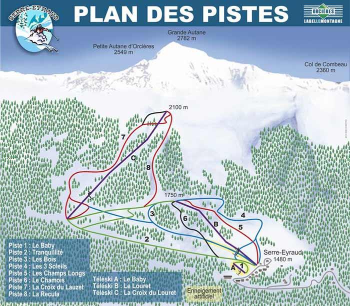 Plan des pistes de la station familiale de Serre-Eyraud
