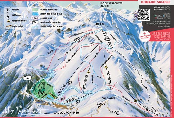 Plan des pistes de la station de Val Louron (2019)
