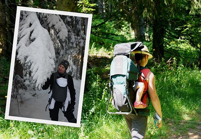 le portage d'un enfant durant les randonnées en famille