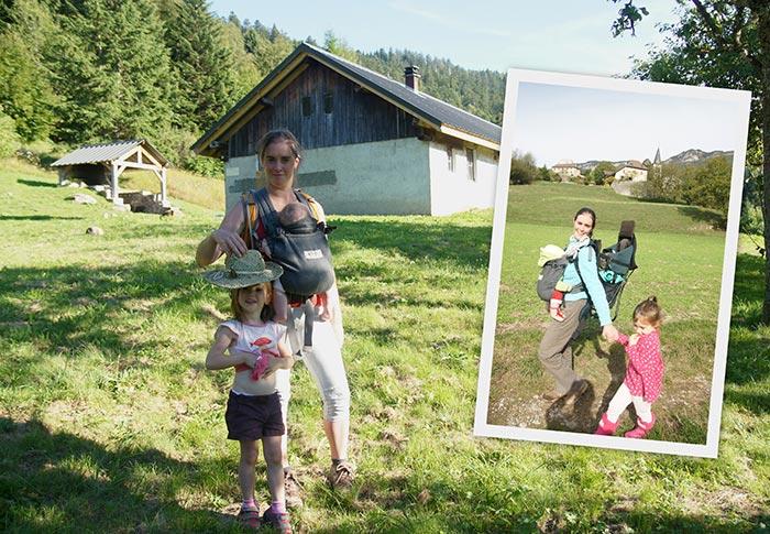 le portage de deux enfants durant les randonnées en famille