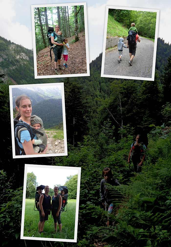 le portage de trois enfants durant les randonnées en famille