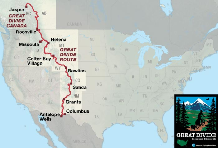 l'itinéraire de la great divide mountain bike route