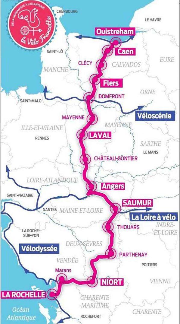 Carte du tracé de la Vélo Francette