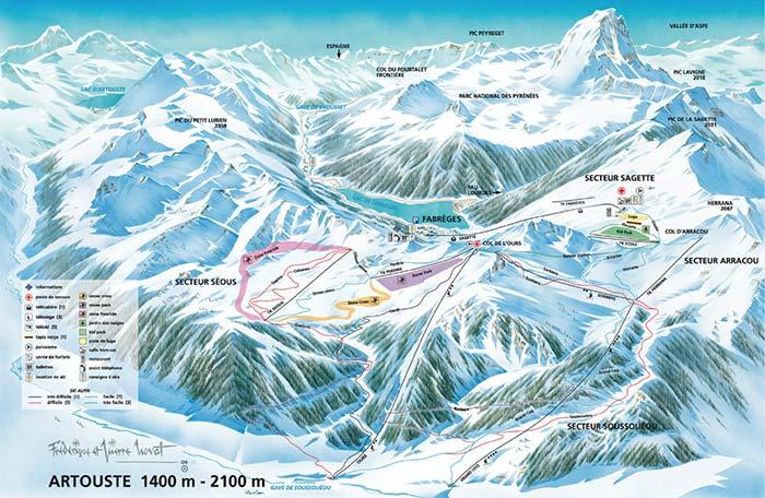 Plan des pistes de la station d'Artouste (2019)