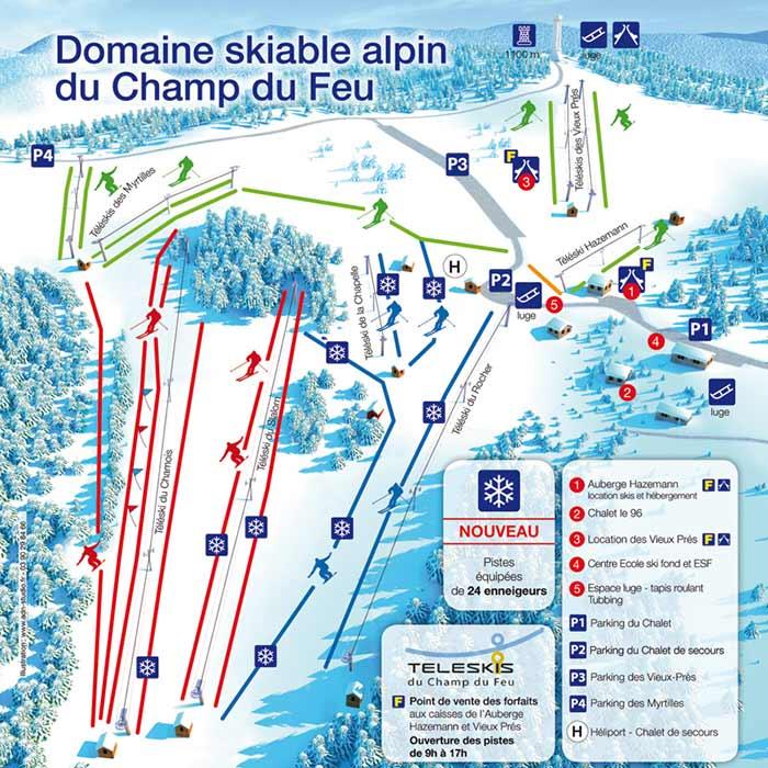 Plan des pistes de la station du Champ du Feu (2019)