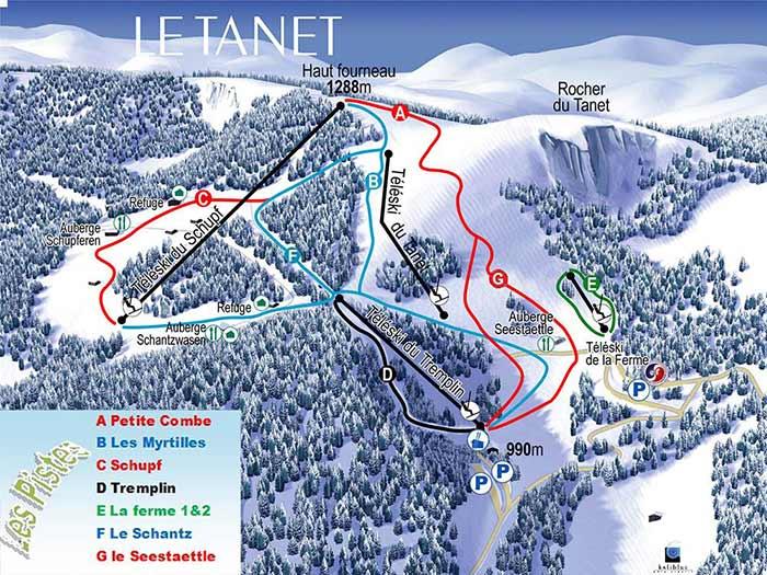 Plan des pistes de la station du Tanet (2019)