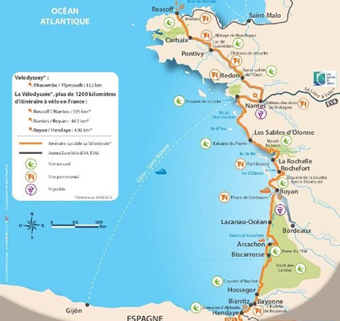 carte de la vélodyssée