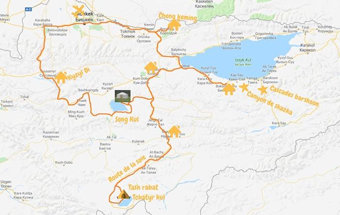 carte de l'itinéraire du voyage en famille au Kirghizstan