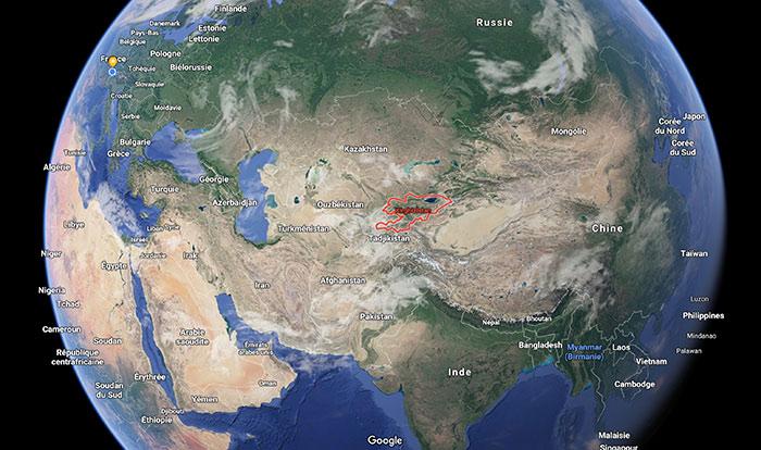 situation du Kirghizstan sur la mapemonde