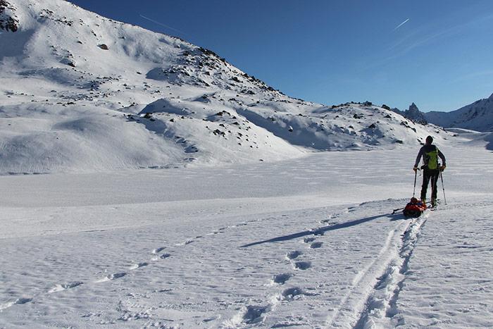 rando nordique avec la pulka au lac long