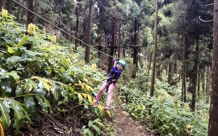 petite fille en tyrolienne dans un acrobranche de l'île de la Réunion