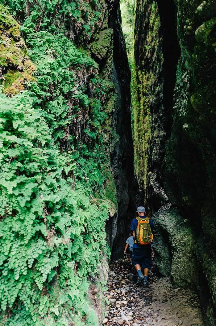un enfant et son papa traverse au bas des falaises dans le vallon obscur