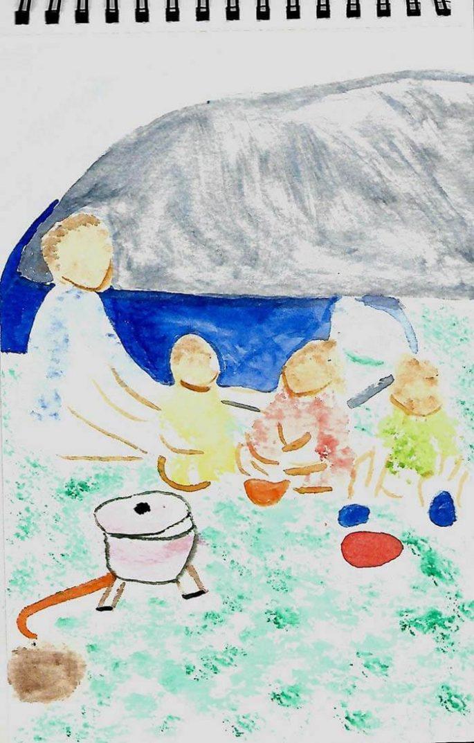 dessin d'une famille en camping devant le lac de narlay